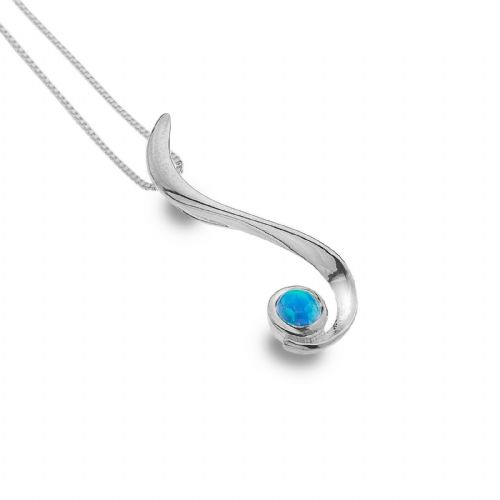 Blue Opal Pendant Sterling Silver Drop Necklace 925 Hallmark All Chain Lengths